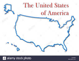 Outline Map Of The United States by The United States Of America Map With Neon Blue Outline And Red