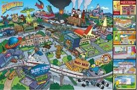 springfield map the simpsons town of springfield map attractions 24x36