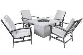 Gas Fire Pit Table Sets - canyon outdoor square gas fire pit set u2013 clover home leisure