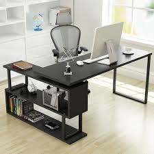tribesigns modern l shaped desk 55 u201d rotating corner computer desk