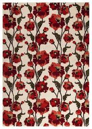 Area Rug White by Orange Fiore Area Rug White Red