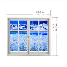 snow mountain 3d artificial window view pag wall decals lake view