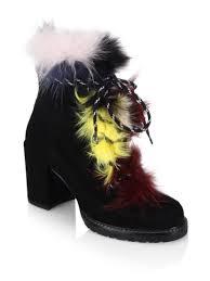 yukon s boots stuart weitzman yukon fur suede block heel booties shoes