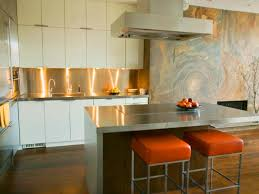 Mirror Backsplash In Kitchen by Interior Photo Of Plate Steel Countertops With Cooktop Undermount