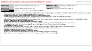 machine builder resume sample