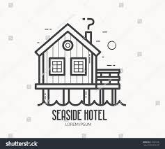 seaside hotel logo label template linear stock vector 614581676