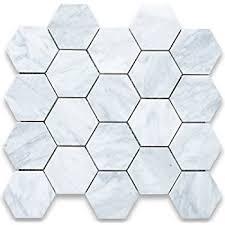 carrara white marble hexagon mosaic tile 2 inch