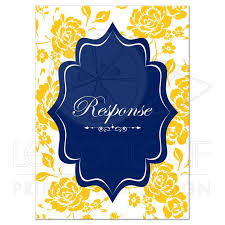 photo insert cards wedding response card navy yellow white floral scroll