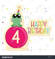vector cute happy birthday card template stock vector 198090899