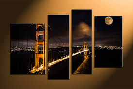 San Francisco Home Decor Wall Art Ideas Design Moon Bridges City Wall Art Canvas San