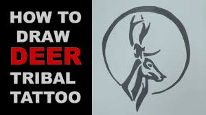 how to draw deer tribal design ep 127 ह रण ट ट