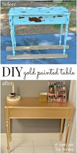diy gold painted table metallic spray paint spray painting and