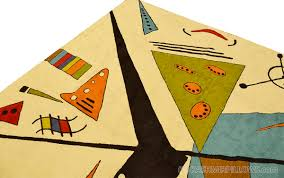 Miro 5ft X 7ft Wool by Kandinsky White Oval Wool Rug Wall Tapestry Hand Embroidered 6ft