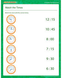 match the times free time printable for 3rd grade math blaster