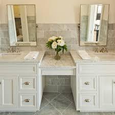 the double sink vanity with make up area austin bathroom vanity