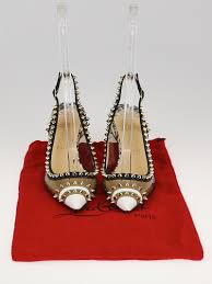 christian louboutin multicolor spiked leather pvc slingback