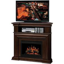 electric fireplace media console with glass embers fireplace