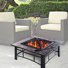 patio table with removable tiles clevr 33 metal fire pit table backyard patio garden bon heater