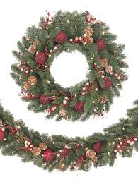 decorating pre lit garland lighted wreaths for outdoors