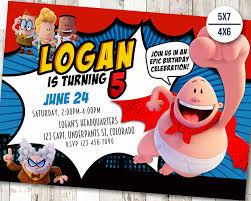 Superhero Invitation Card Captain Underpants Invitation Captain Birthday Invitations