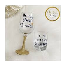 his hers wine glasses his and hers wine whiskey glass set wedding by glittersips