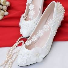 pearl lace pretty white tusl floral pearl lace bridal wedding shoe high heels