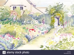 Painting Of House by Watercolour Painting Of A Herbaceous Border In The Abbey House