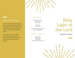 simple white and gold trifold church brochure templates by canva
