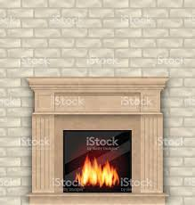 realistic marble fireplace with fire in interior brick wall stock