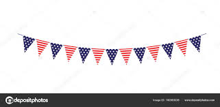 Red White Striped Flag Red White Blue Stars Stripes Bunting Flags Vector Illustration