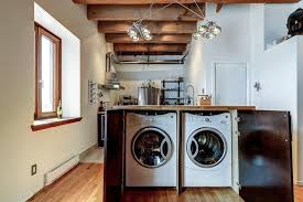 Laundry Sorter Cabinet Washer And Dryer Hidden In Cabinet Laundry Room Traditional With