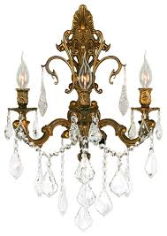 Crystal Candle Sconce Traditional Elegance 3 Light French Gold Finish Crystal Wall