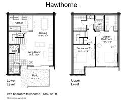 Two Level Floor Plans Townhomes For Rent In Eden Prairie Mn Tanager Creek