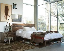 Rustic Platform Bed Impeccable Reclaimed Wood Platform Bed Ceiling Fan Black Wall