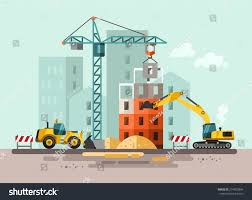 construction site building house vector flat stock vector