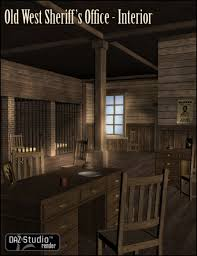 old west sheriffs office interior 3d building model 3d models