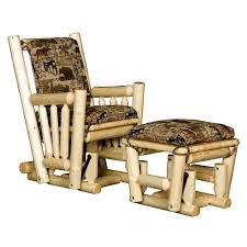 Gliders And Ottomans Log Glider Rocking Chair And Ottoman Cabin Place