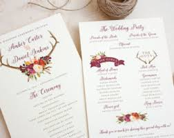 fall wedding programs bohemian program etsy