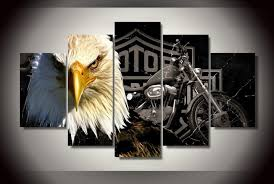 5 panels eagles motorcycle painting canvas wall art picture home