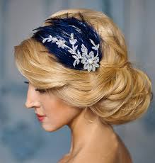 lace fascinator blue wedding fascinator navy blue and silver lace feather