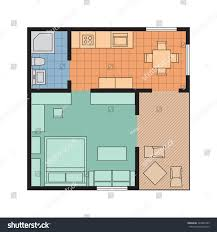 Floor Plans With Furniture Vector Flat Projection Apartment Small House Stock Vector
