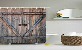 Shower Curtains Rustic Yiger Rustic Country Barn Wood Door Bath Shower