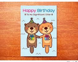 otter birthday card etsy
