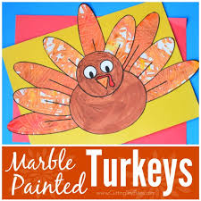 marble painted turkeys what can we do with paper and glue