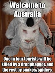 Straya Memes - welcome to australia one in four tourists will be killed by a