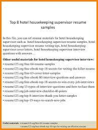 resume sample housekeeping supervisor eliolera com
