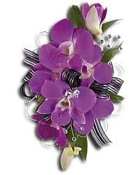 purple promise wristlet corsage teleflora