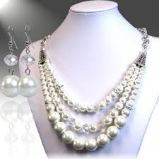 white pearl necklace designs images Triple strand pearl necklace set jpg