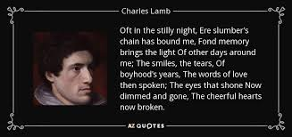 the light of other days charles lamb quote oft in the stilly night ere slumber s chain has