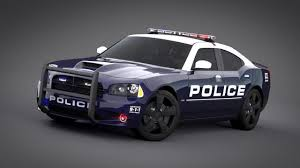 police charger dodge charger srt8 2006 police normal carrig 3d model animated